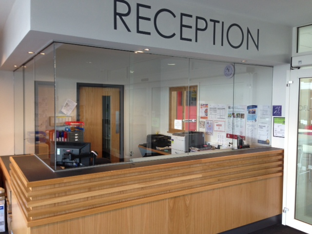 Reception Screens Supplied And Fitted Bartley Glass
